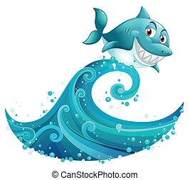 grande, squalo, sopra, onda