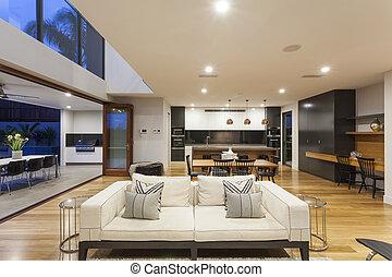 grande, stanza moderna, vivente