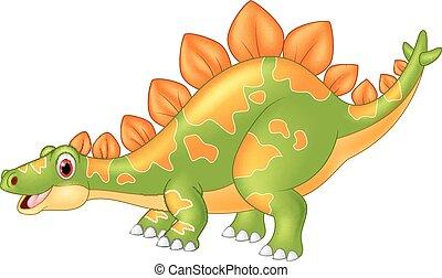 grande, stegosaurus, cartone animato, dinosauro
