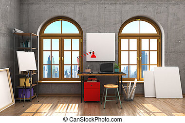 grande, stile, stanza, ufficio, windows, illustrazione, ...