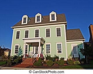 grande, storico, disegnato, due-storia, verde, casa