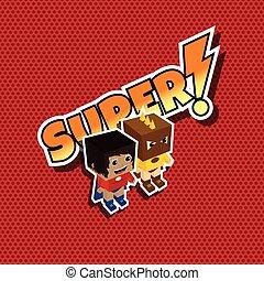 grande, superhero, coppia