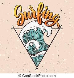 grande, surf, illustration., onda