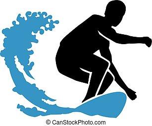grande, surf, tablista, onda