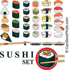 grande, sushi, conjunto