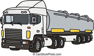 grande, tanque, semitrailer