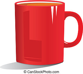 grande tasse café, illustration, rouges