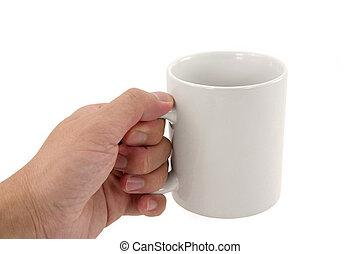 grande tasse café, tenant main