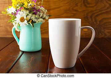 grande tasse, pot fleurs, vert, café, menthe, mockup