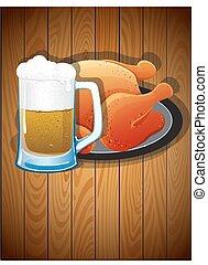 grande tasse, poulet, rôti, bière