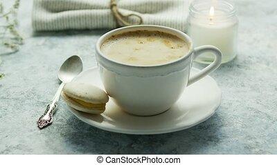 grande tasse, vue, sommet, café