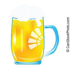grande, tazza, birra
