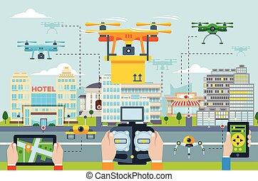 grande, tecnologias, conceito, modernos, cidade