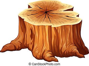 grande, tocón, árbol