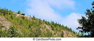 grande, topo montanha, rocha