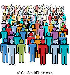 grande, torcida, de, muitas cores, social, pessoas, grupo