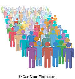 grande, torcida, muitos, diverso, coloridos, pessoas, junto
