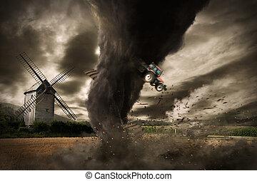 grande, tornado, desastre, ligado, um, celeiro