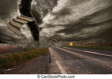 grande, tornado, disastro