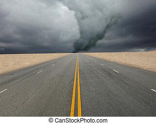 grande, tornado, sobre, estrada