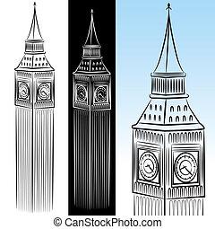 grande, torre, ben, dibujo, reloj