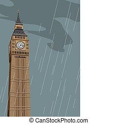 grande, torre, ben, reloj