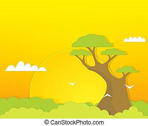 grande, torreggiare, foresta albero