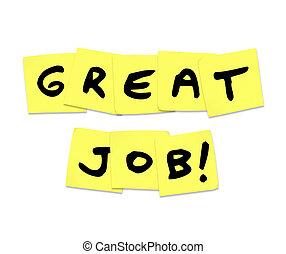 grande, trabajo, -, alabanza, palabras, en, amarillo, notas pegajosas