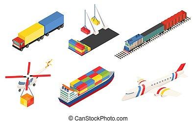 grande, trem, transport., global, logística, ar, elemento, ...