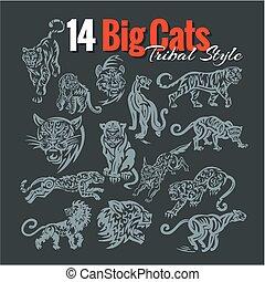 grande, tribale, style., vettore, gatti, set.