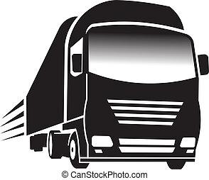 grande, truck., conceito, de, transporte, e, cargo.