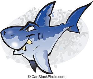 grande tubarão branco, caricatura