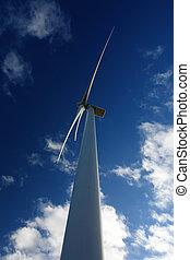 grande, turbina, viento