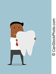 grande, uomo affari, dente bianco