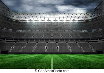 grande, vacío, fútbol, estadio, con, luces