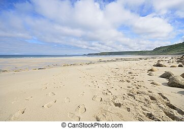 grande, vazio, praia, com, pegadas