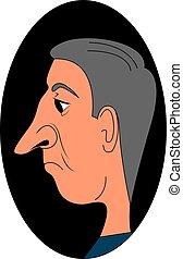 grande, vecchio, fondo., naso, uomo, bianco, illustrazione, ...