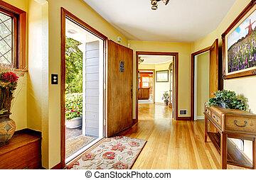 grande, vecchio, lusso, casa, entrata, con, arte, e, giallo,...