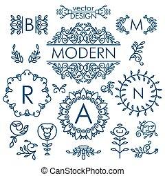 grande, vector, conjunto, de, línea, diseño floral,...