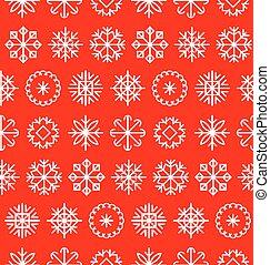 grande, vector, copos de nieve, conjunto, en, plano, style., colorido, navidad, textura, año nuevo, pattern., natividad, elements.