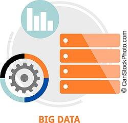 grande,  vector,  -, datos