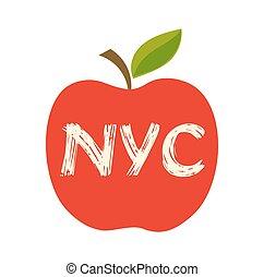 grande, vector, manzana