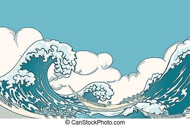 grande, vector, onda
