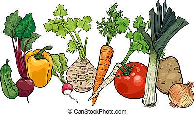 grande, vegetales, grupo, caricatura, ilustración