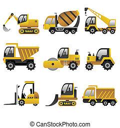 grande, veicoli costruzione, icone