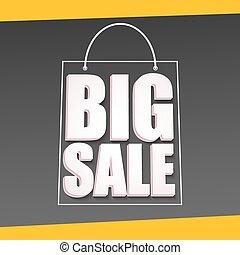 grande, venda, anúncio