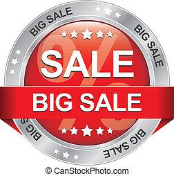 grande, venda, vermelho, prata, botão, isolado