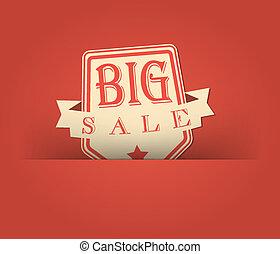 grande, vendemmia, vendita, disegno, retro, disegnato