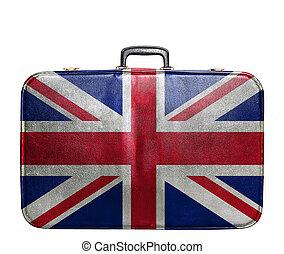 grande, vendemmia, viaggiare, gran bretagna, borsa, bandiera