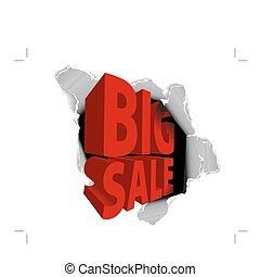 grande, vendita, annuncio pubblicitario, scontare